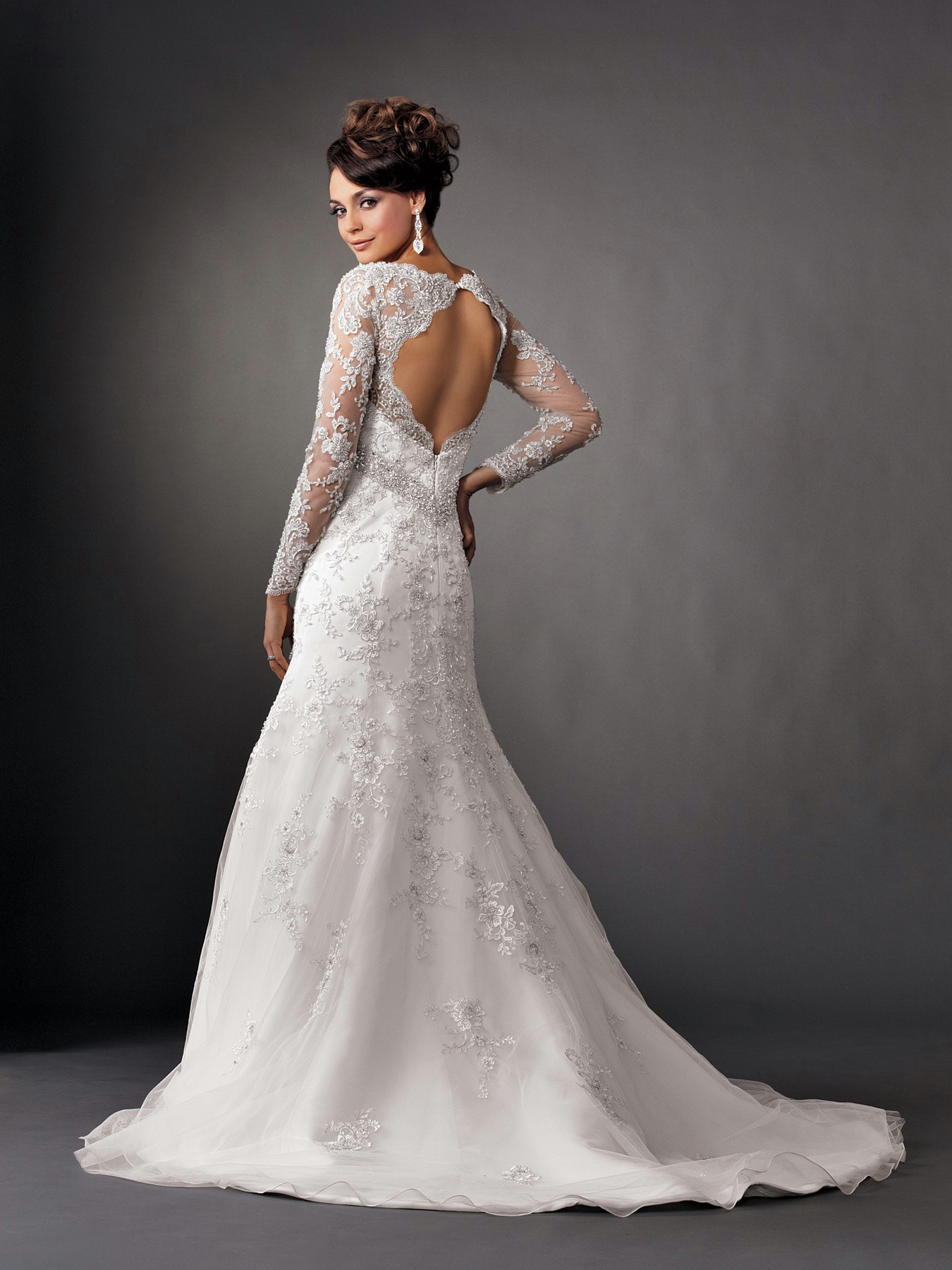 2014 2015 wedding dress trends lace sleeves dipped for Long sleeve white lace wedding dress