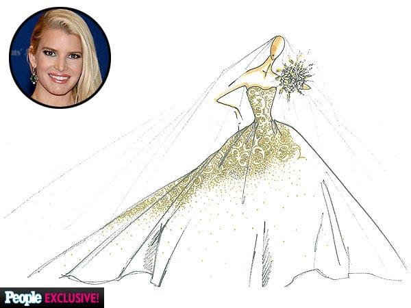 First Glance - Jessica Simpson's Carolina Herrera Wedding Dress Details 2
