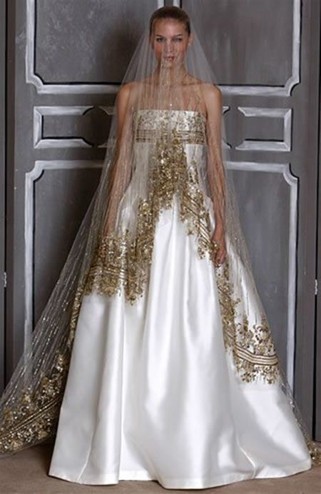 2014 fall 2015 winter wedding dress trends metallic for White and gold wedding dresses