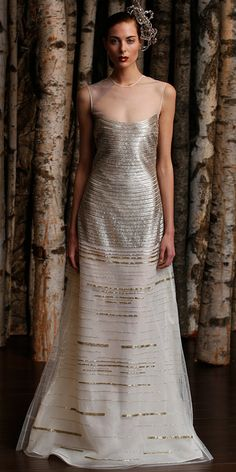 2014 Fall - 2015 Winter Wedding Dress Trends - Metallic Wedding Dresses 4