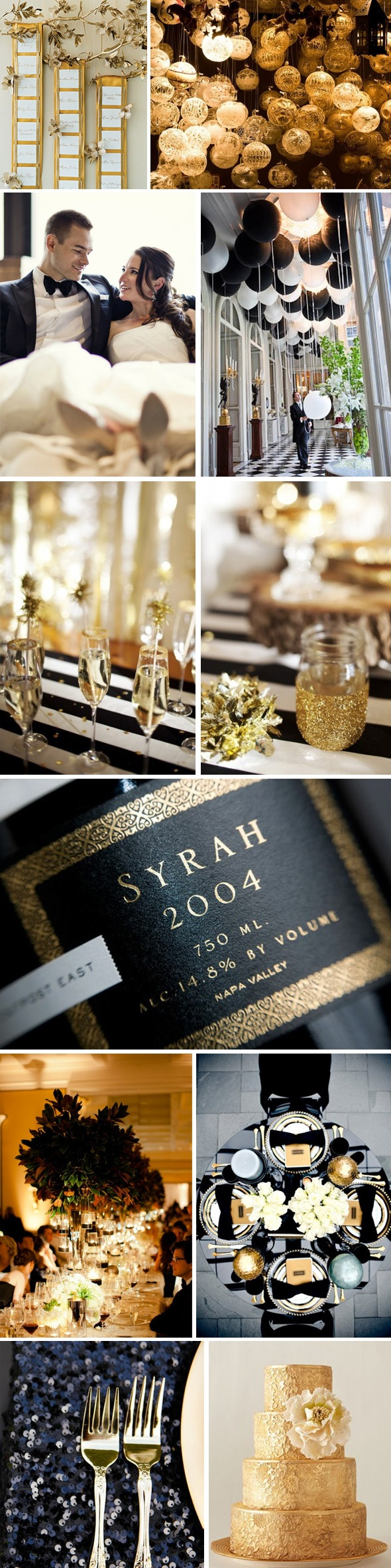 New years eve wedding theme ideas dipped in lace - Black and gold wedding reception decorations ...