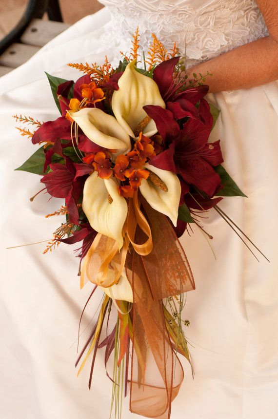 fall wedding bouquet ideas dipped in lace