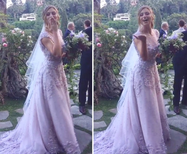 Aly Michalka Ties The Knot In Lavender Wedding Dress 2